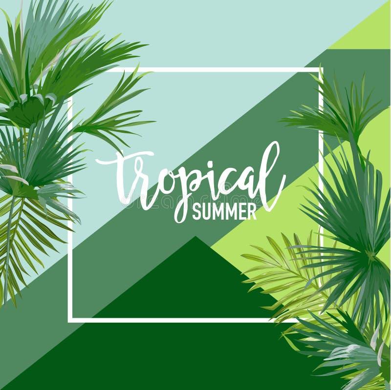 热带棕榈夏天横幅、图表背景、异乎寻常的花卉邀请、飞行物或者卡片 现代首页 向量例证