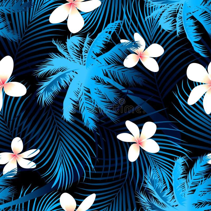热带棕榈无缝的样式有黑背景 向量例证