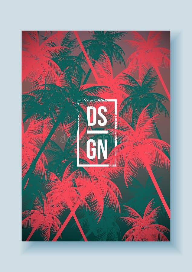 热带棕榈树减速火箭的马赛克暑假海报-传染媒介例证 向量例证
