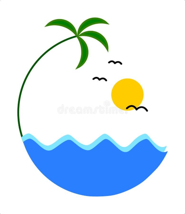 热带棕榈,海波浪的例证白色背景的 向量例证