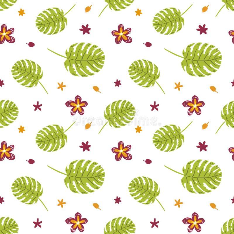 热带植物和在白色隔绝的花无缝的样式 皇族释放例证