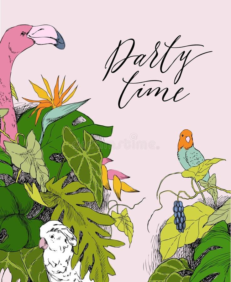 热带植物手拉的分支和叶子  与鸟的单色花卉束 火鸟,鹦鹉,美冠鹦鹉 投反对票 向量例证
