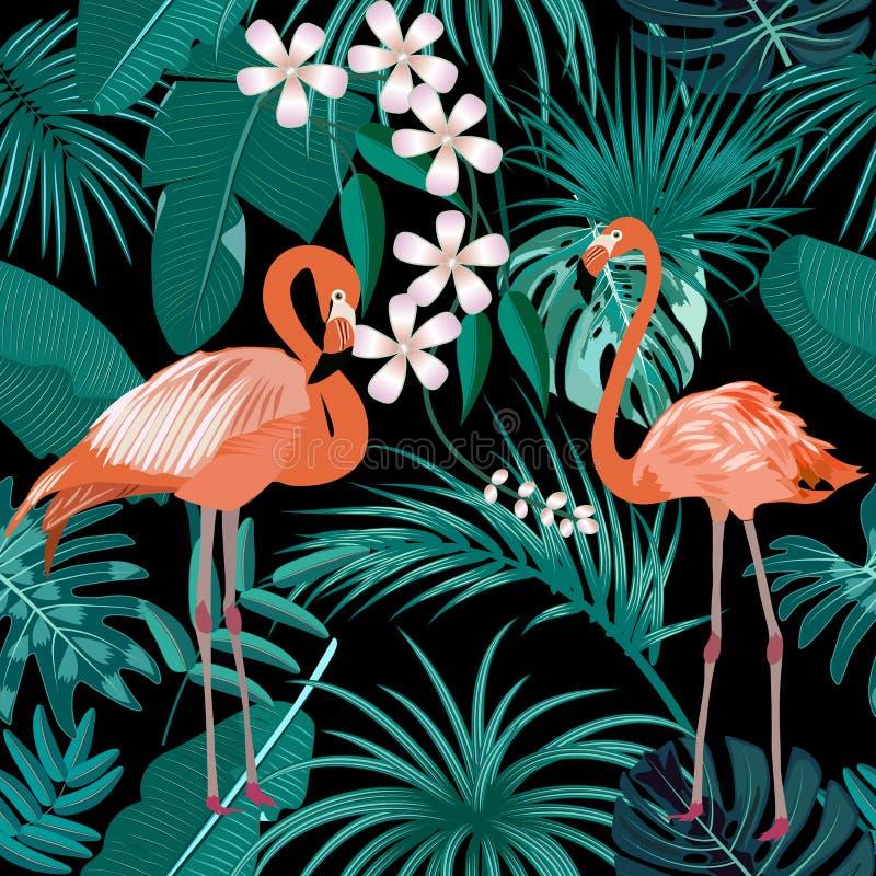 热带植物无缝的样式、桃红色火鸟和棕榈树热带叶子  库存例证