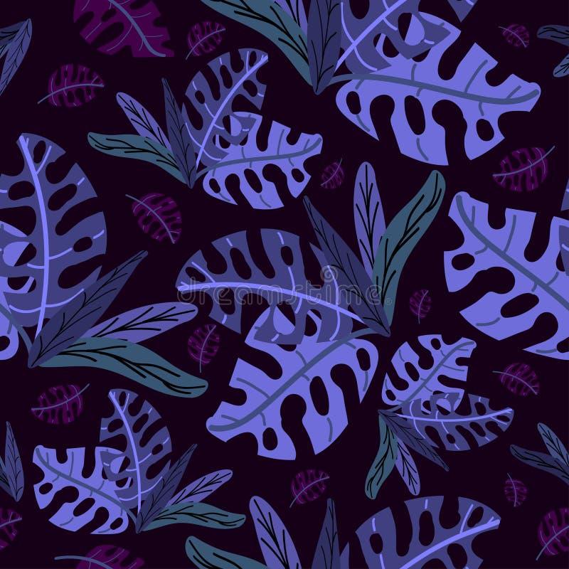 热带植物浅兰和深蓝 向量例证