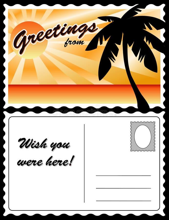 热带横向的明信片 库存例证