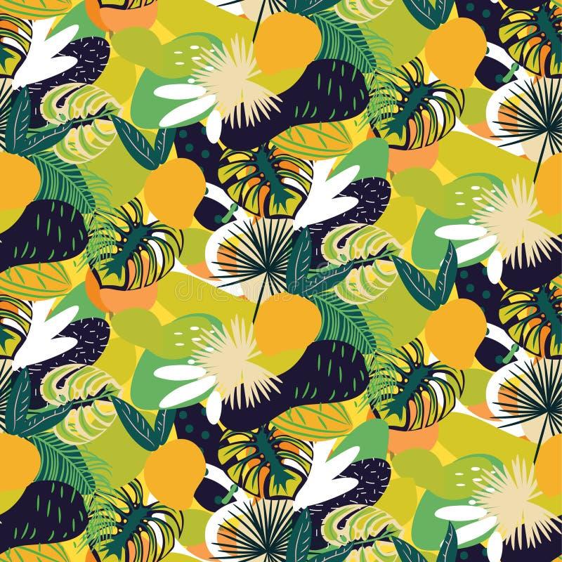 热带水果无缝的水多的样式 绿色明亮的抽象织地不很细传染媒介背景 皇族释放例证