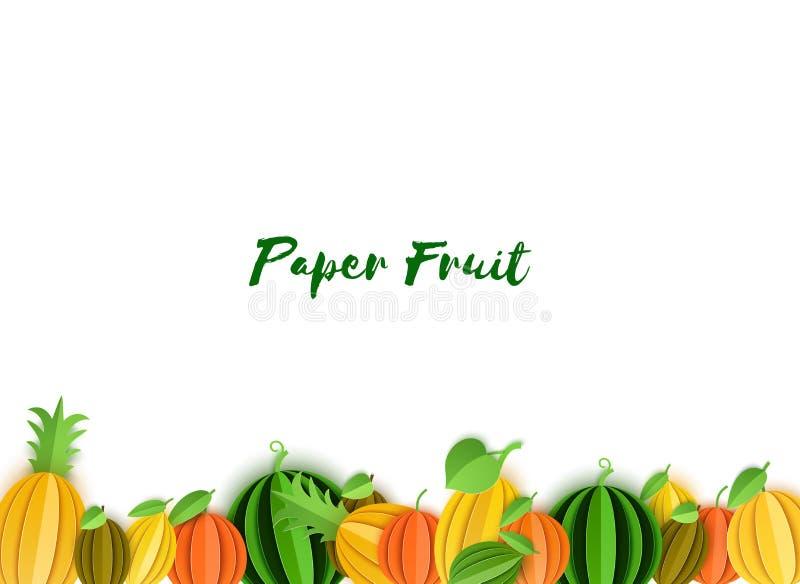 热带水果边界在纸被削减的样式的 Origami柑橘桔子,蜜桔,菠萝,石灰,柠檬,葡萄柚 库存例证