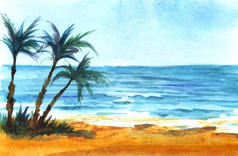 热带沿海天蓝色的海,天空蔚蓝 明亮的沙子 棕榈树的三个黑暗的剪影 向量例证