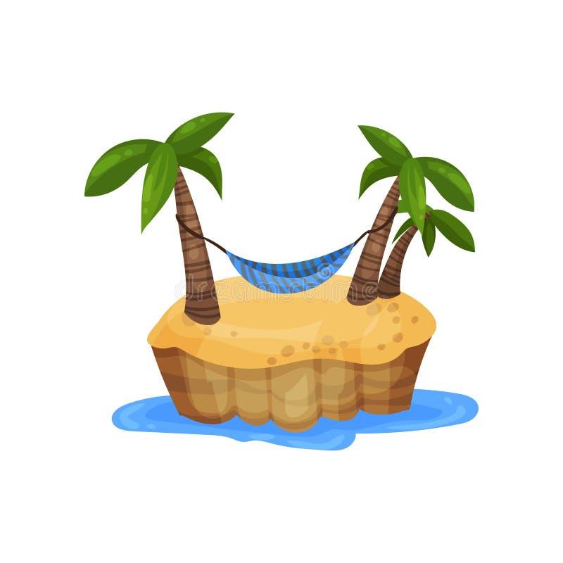 热带海岛和吊床在棕榈树中导航例证在白色背景 库存例证