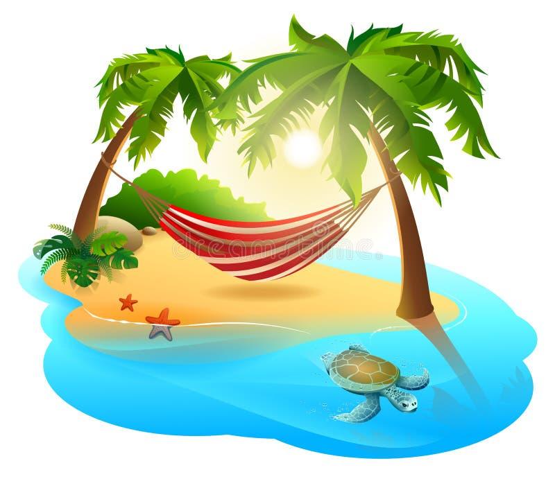 热带海岛和吊床在棕榈树中 皇族释放例证