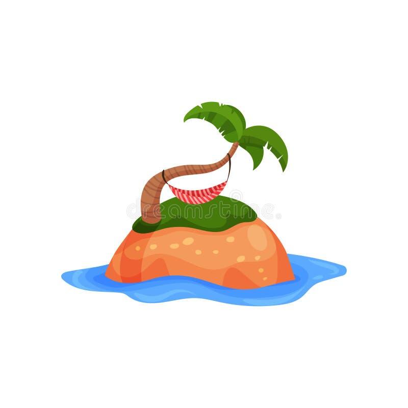 热带海岛和吊床在棕榈树导航例证在白色背景 库存例证