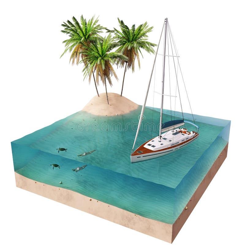热带海岛和游艇 皇族释放例证
