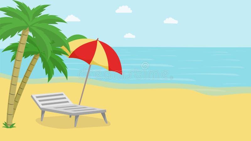 热带海岛放松传染媒介例证 与异乎寻常的棕榈树、沙滩伞和轻便折叠躺椅的海景 ?? 向量例证