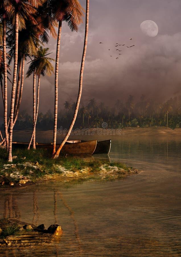 热带海岛晚上 皇族释放例证