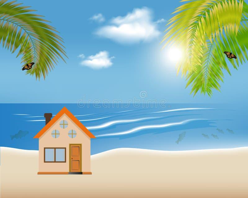 热带海岛的传染媒介例证有逗人喜爱的房子的有棕榈树和吊床的 皇族释放例证