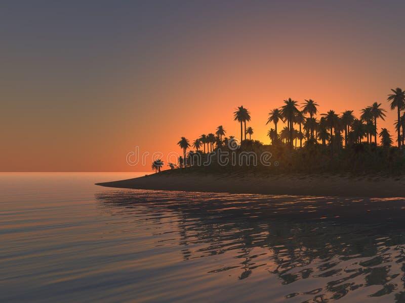 热带海岛的日落 库存照片