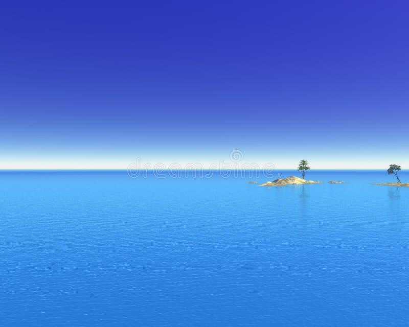 热带海岛的海洋 皇族释放例证