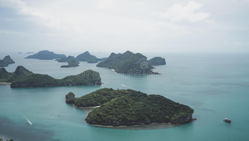 热带海岛美丽的群岛在泰国湾在曼谷南部 库存照片