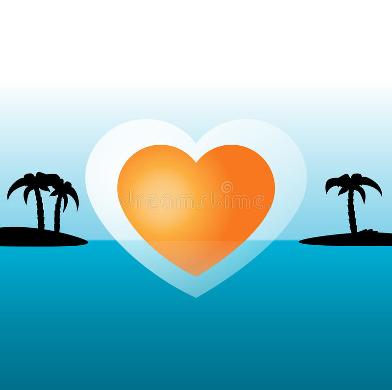 热带海岛-蜜月 向量例证