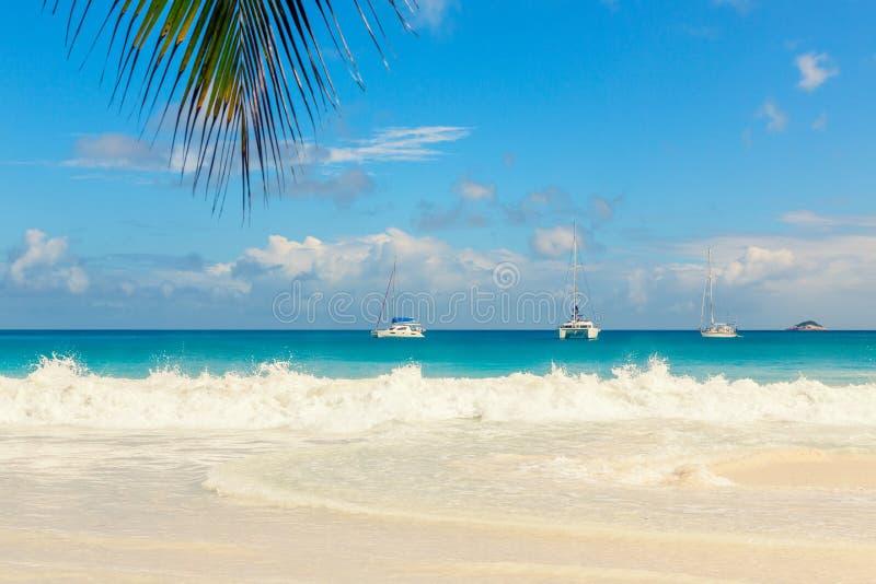 热带海滩和波浪海Prasline海岛的,塞舌尔群岛 库存照片