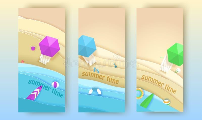 热带海滩横幅在纸艺术样式设置了 传染媒介顶视图纸裁减例证 暑假概念海报 向量例证