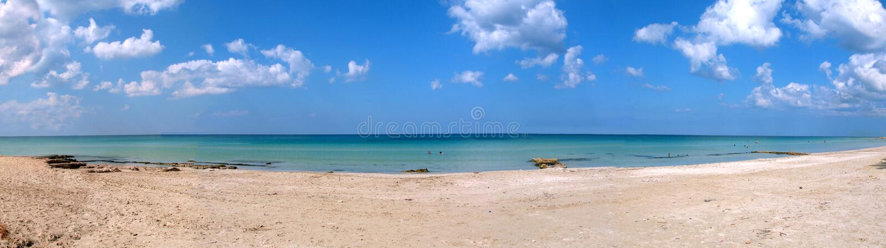 热带海滩的全景 库存照片
