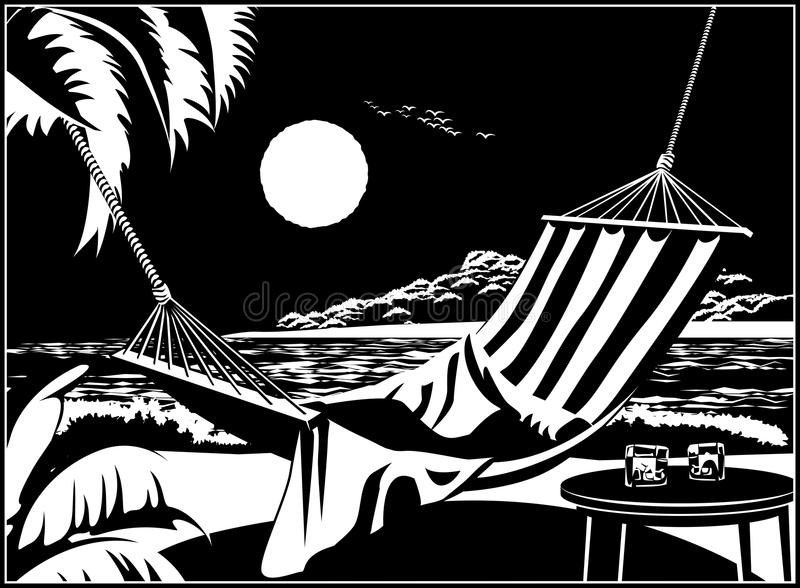 热带海滩的吊床 向量例证