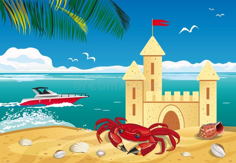 热带海滩的图象与沙子城堡、小船和螃蟹的 皇族释放例证