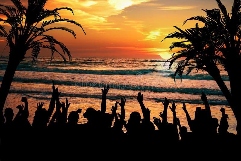 热带海滩的当事人 免版税库存图片