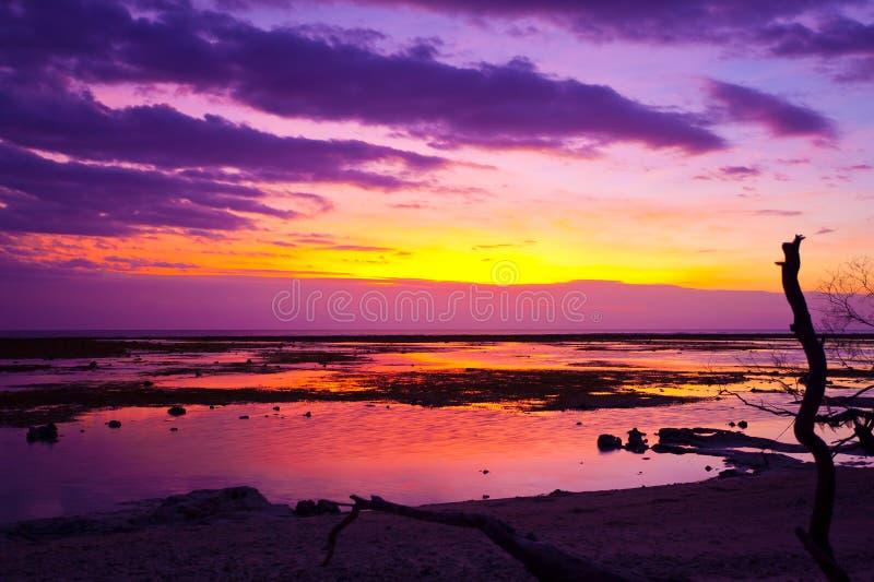 热带海滩的日落 免版税库存照片
