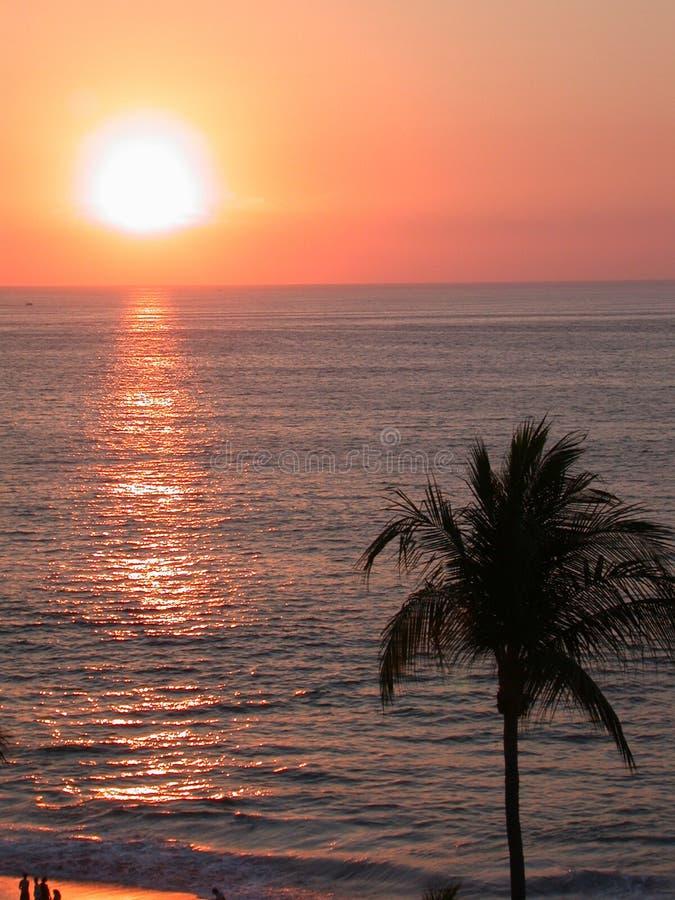 热带海滩的日落 免版税图库摄影