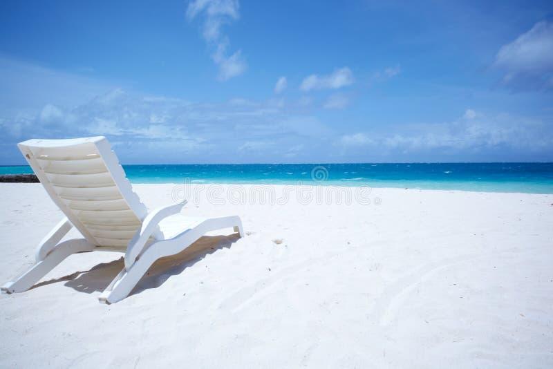 热带海滩睡椅的休息室 免版税图库摄影