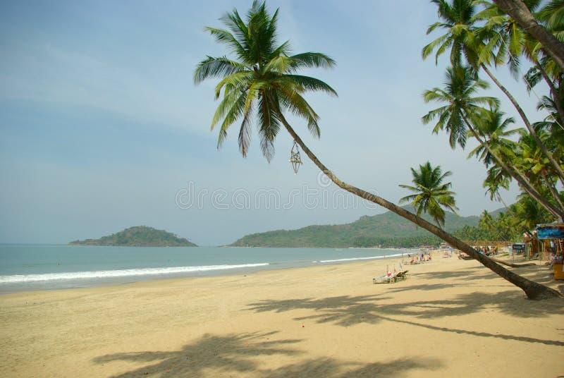 热带海滩美丽的掌上型计算机 库存图片
