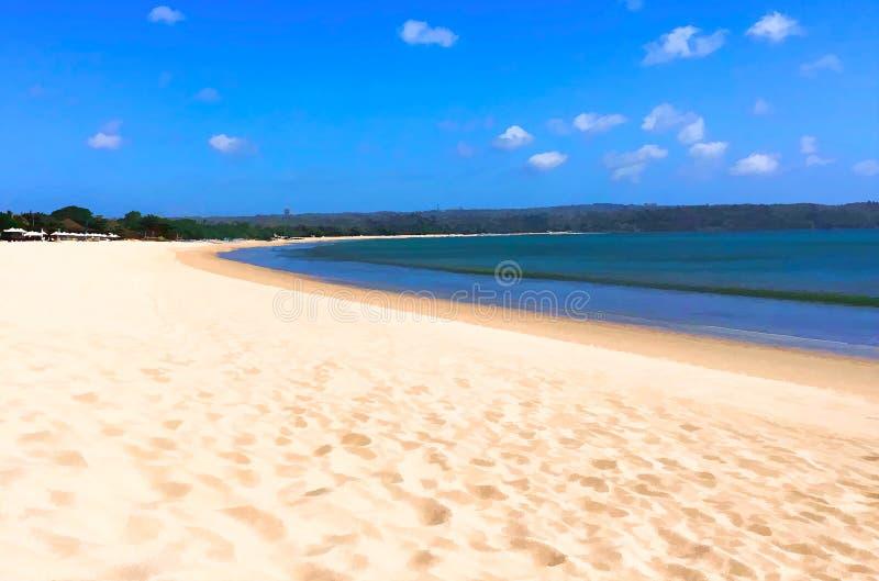 热带海边数字式例证 白色沙子海滩和绿松石海在晴天 皇族释放例证
