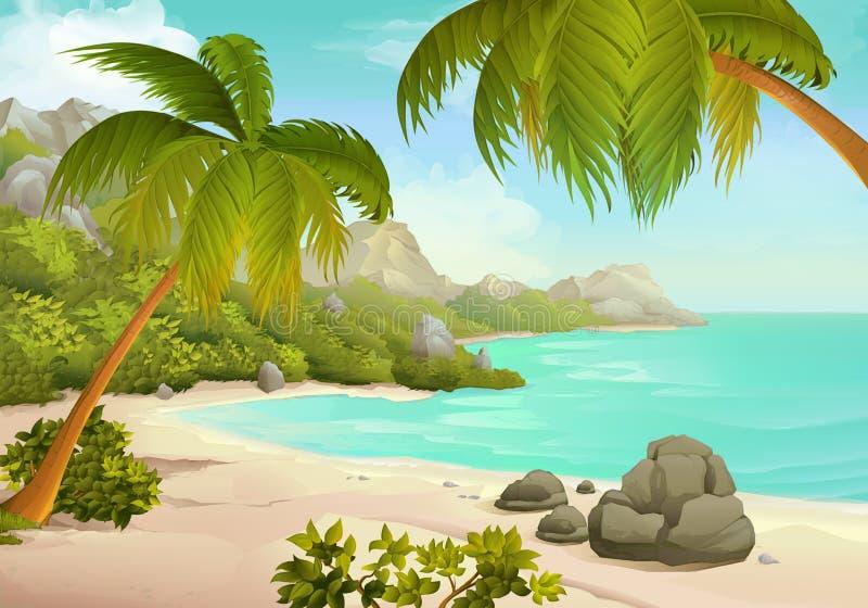 热带海滩传染媒介背景 向量例证