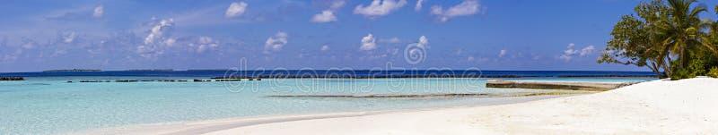 热带海滩全景,旅行 免版税库存照片