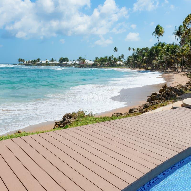 热带海滩多巴哥加勒比附近的水池和木甲板摆正 图库摄影