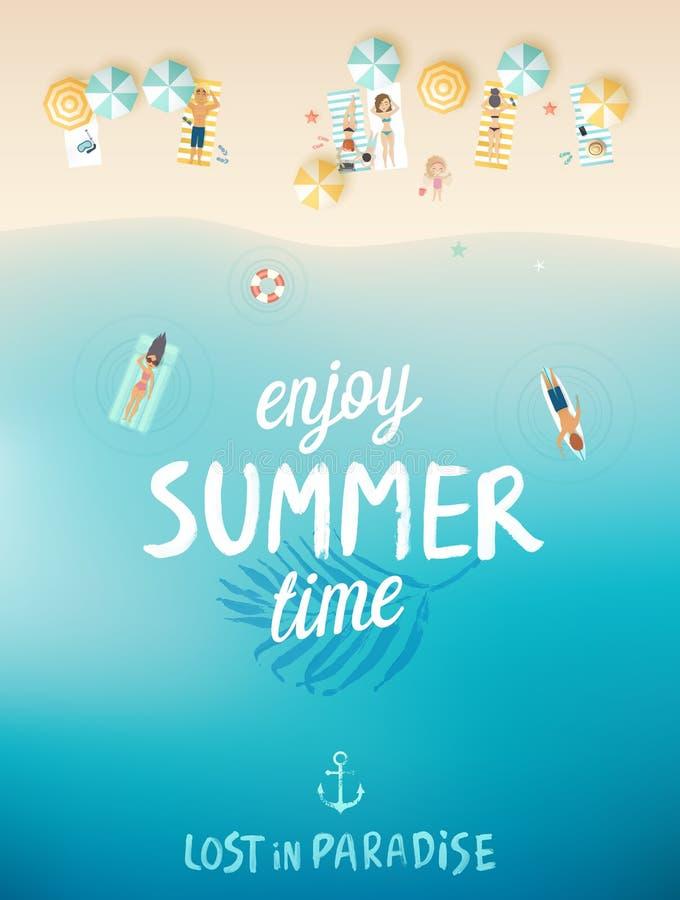 热带海滩海报,享受夏天 皇族释放例证