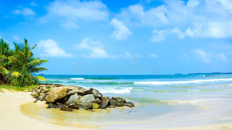 热带海滩的全景在斯里兰卡。 免版税库存图片