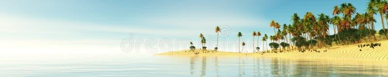 热带海滩的全景 海上的日落 免版税库存图片