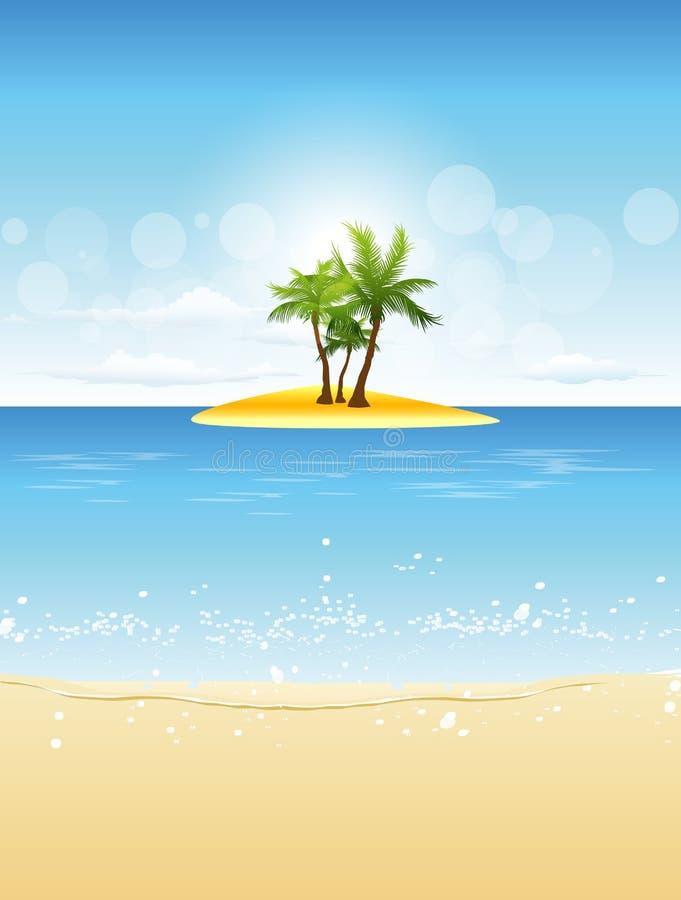 热带海滩的海岛 皇族释放例证