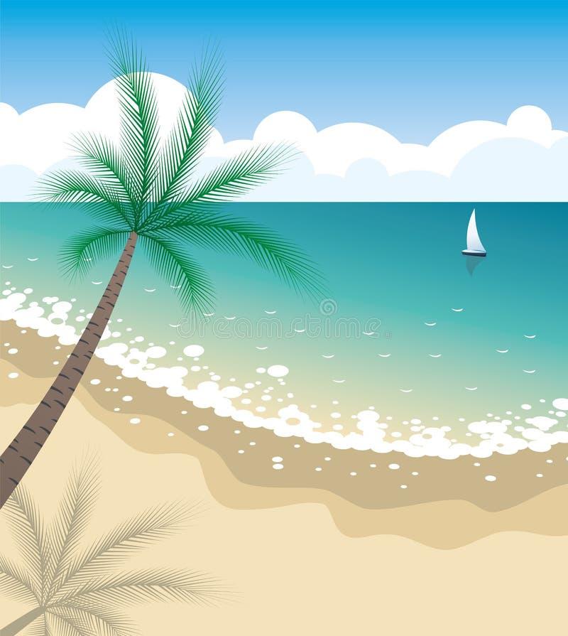热带海滩 向量例证