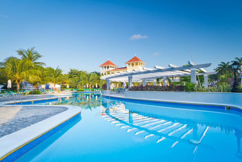 热带游泳池在黎明 免版税库存照片
