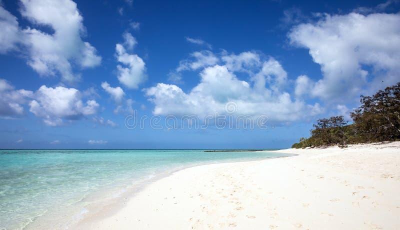 热带白色沙子海滩和蓝色海洋用水晶水 免版税库存图片