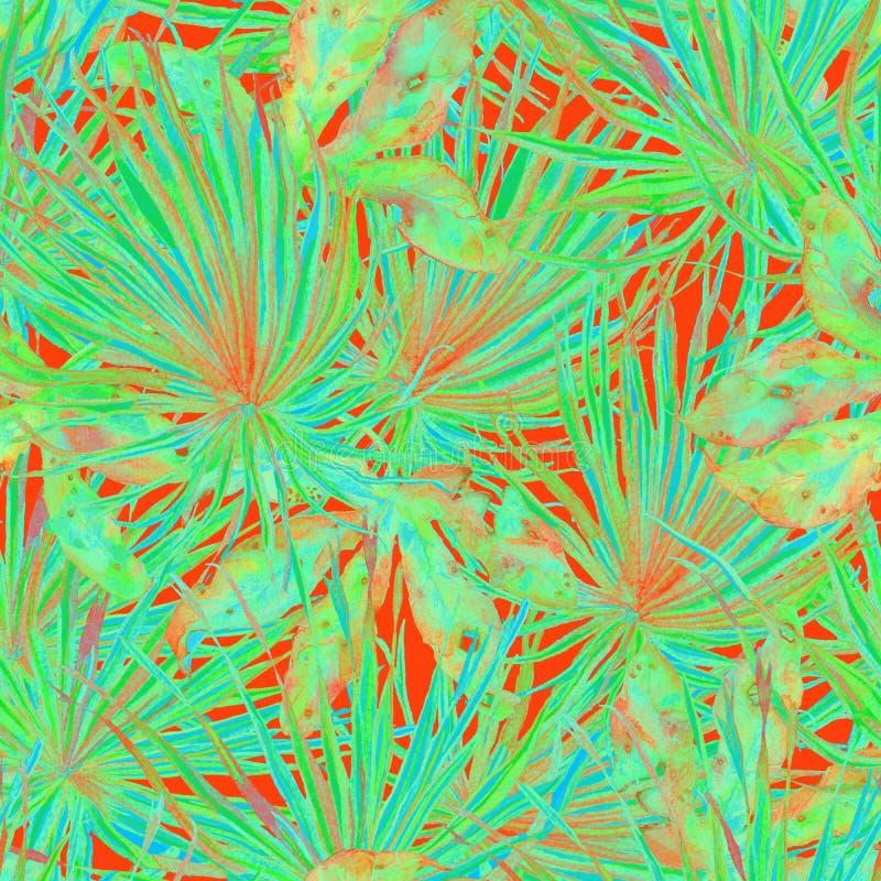 热带的模式 水彩异乎寻常的花和monstera叶子 向量例证