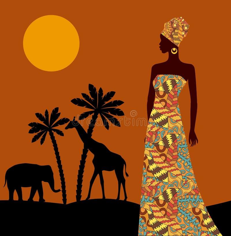 热带的横向 美丽的黑人妇女 非洲大草原 皇族释放例证