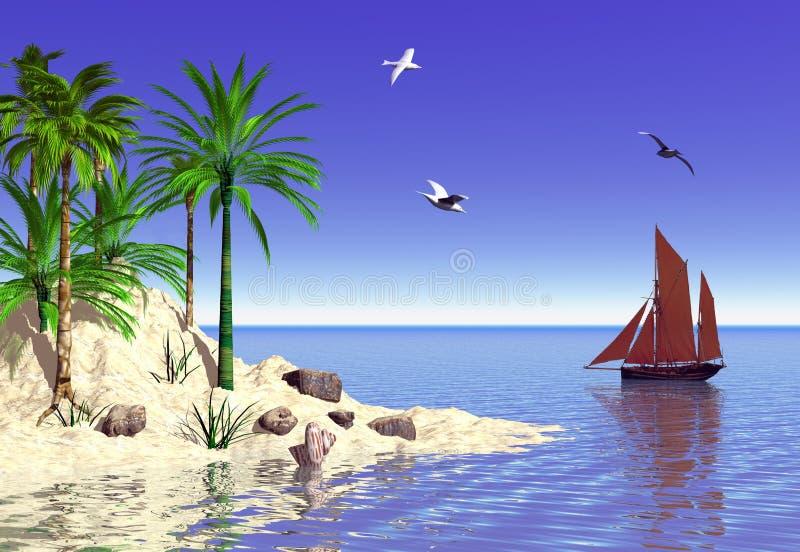 热带的海岛 库存例证
