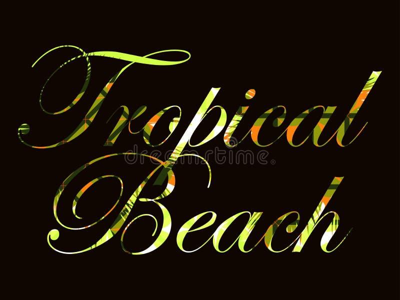 热带的海滩 与棕榈叶卷毛的文本  在黑背景的美好的文字 向量 向量例证