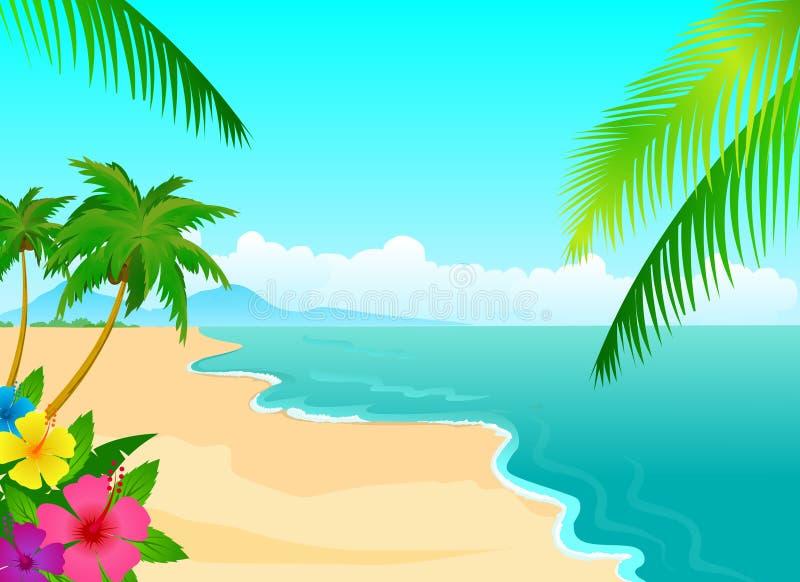 热带的海滩 皇族释放例证