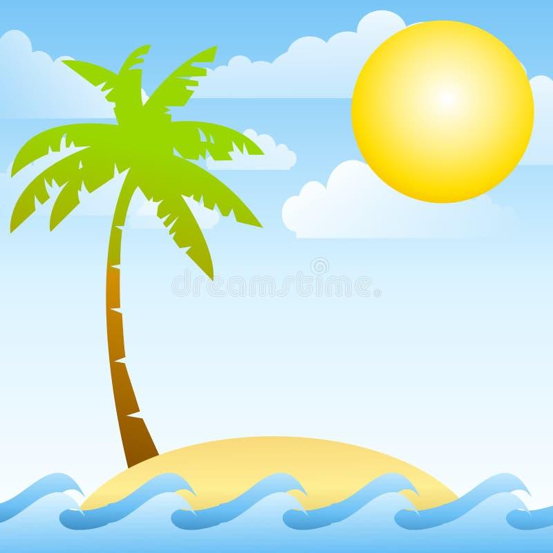热带离开的海岛的海洋 向量例证